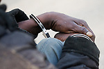 Arrested poacher, Kafue National Park, Zambia