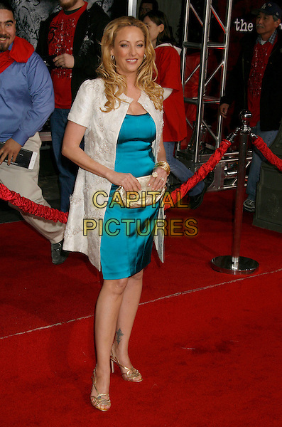 "VIRGINIA MADSEN .""The Number 23"" Los Angeles Premiere held at the Orpheum Theater, Los Angeles, California, USA..February 13th, 2007.full length turquoise dress blue cream coat clutch bag gold shoes bracelets bangles.CAP/ADM/RE.©Russ Elliot/AdMedia/Capital Pictures *** Local Caption *** .."