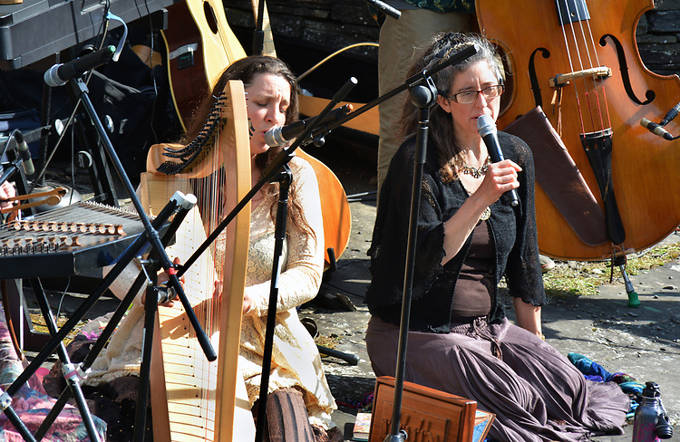 Elizabeth Clark-Jerez and Annie Roland, of Mamalama in performance at the Opus 40 Sculpture Park on Fite Road, in Saugerties, NY on Sunday May 21, 2017. Photos by jim Peppler. Copyright Jim Peppler/2017.