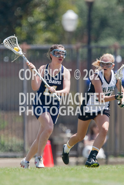 Los Angeles, CA 04/18/10 - Deirdra Spillane (UC Davis # 11) and Jackie Bierre (Cal Poly #13) in action during the 2010 Western Women Lacrosse League Championship game between UC Davis and Cal Poly SLO for third place, hosted by UCLA.  UC Davis edged Cal Poly SLO 8-7 in overtime.