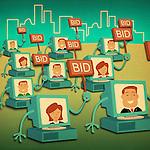 Business people bidding online