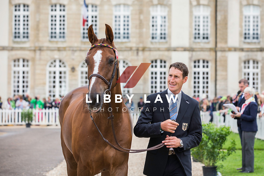 GER-Dirk Schrade (HOP AND SKIP) FIRST HORSE INSPECTION: EVENTING: The Alltech FEI World Equestrian Games 2014 In Normandy - France (Wednesday 27 August) CREDIT: Libby Law COPYRIGHT: LIBBY LAW PHOTOGRAPHY - NZL