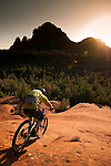 A mountain biker rides slickrock in Sedona, Arizona.