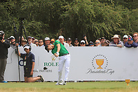 Joaquin Niemann (International) on the 2nd tee during the Second Round - Foursomes of the Presidents Cup 2019, Royal Melbourne Golf Club, Melbourne, Victoria, Australia. 13/12/2019.<br /> Picture Thos Caffrey / Golffile.ie<br /> <br /> All photo usage must carry mandatory copyright credit (© Golffile | Thos Caffrey)