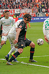 17.03.2019, BayArena, Leverkusen, GER, 1. FBL, Bayer 04 Leverkusen vs. SV Werder Bremen,<br />  <br /> DFL regulations prohibit any use of photographs as image sequences and/or quasi-video<br /> <br /> im Bild / picture shows: <br /> Julian Baumgartlinger (Leverkusen #15), im Zweikampf gegen  Nuri Sahin (Werder Bremen #17), <br /> <br /> Foto © nordphoto / Meuter