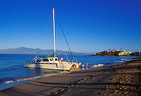 Early morning sail at Kaanapali beach, Maui, with view of Molokai