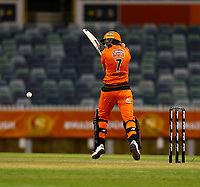 1st November 2019; Western Australia Cricket Association Ground, Perth, Western Australia, Australia; Womens Big Bash League Cricket, Perth Scorchers versus Melbourne Renegades; Meg Lanning of the Perth Scorchers knocks the ball to the leg side during her innings - Editorial Use