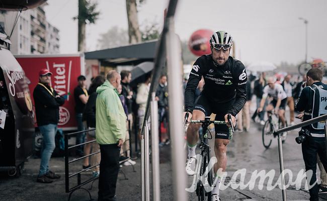 sign-on podium for Bernhard 'Bernie' Eisel (AUT/Dimension Data)<br /> <br /> 104th Tour de France 2017<br /> Stage 12 - Pau &rsaquo; Peyragudes (214km)