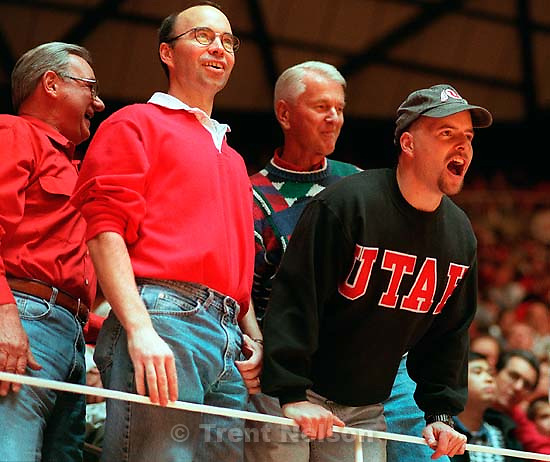Utah fans yelling at BYU players before Utah vs. BYU basketball. &quot;Hey Larry Mundello, Where's the Beav?&quot;<br />