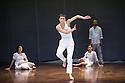 London, UK. 10.04.2013. Fabulous Beast Dance Theatre presents PETRUSHKA at Sadler's Wells. Picture shows: Ino Riga (front), Rachel Poirier, Anna Kaszuba and Keir Patrick (back). Photograph © Jane Hobson.