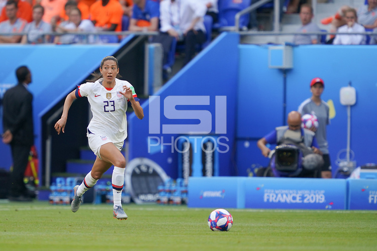 LYON, FRANCE - JULY 07: Christen Press #23 during the 2019 FIFA Women's World Cup France final match between the Netherlands and the United States at Stade de Lyon on July 07, 2019 in Lyon, France.