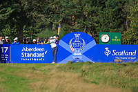 Annie Park (USA) on the 17th tee during Day 3 Singles at the Solheim Cup 2019, Gleneagles Golf CLub, Auchterarder, Perthshire, Scotland. 15/09/2019.<br /> Picture Thos Caffrey / Golffile.ie<br /> <br /> All photo usage must carry mandatory copyright credit (© Golffile | Thos Caffrrey)