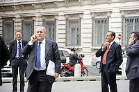 Roma, 13 ottobre 2011.Parlamentari e ministri entrano in Parlamento per l'intervento del presidente silvio Berlusconi.Nella foto:Claudio Lotito