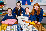 Causeway Comprehensive School students Emma Dillane, Lauren Murphy, Elle McCarthy and Ciara Flahive display the clothing on Thursday at the school, that they have up-styled which they received from SvP Tralee,
