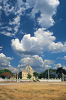 The old church at Cuzama, near Merida, Yucatan, Mexico 7-02.  The flat land and summer tropical rainstorms make for dramatic big skies in Yucatan
