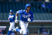 Kansas City Royals center fielder Khalil Lee (15) runs to first base during an Instructional League game against the Cincinnati Reds on October 2, 2017 at Surprise Stadium in Surprise, Arizona. (Zachary Lucy/Four Seam Images)
