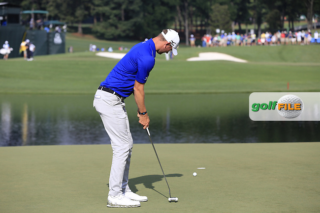 Chris Wood (ENG) putts on the 14th green during Thursday's Round 1 of the 2017 PGA Championship held at Quail Hollow Golf Club, Charlotte, North Carolina, USA. 10th August 2017.<br /> Picture: Eoin Clarke | Golffile<br /> <br /> <br /> All photos usage must carry mandatory copyright credit (&copy; Golffile | Eoin Clarke)
