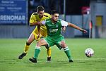 2018-08-11 / Voetbal / Seizoen 2018-2019 / Beker van Belgi&euml; / Lierse Kempenzonen - Francs Borains / Jef Van der Veken (l. Lierse Kempenzonen) met Hedy Chaabi<br /> <br /> ,Foto: Mpics