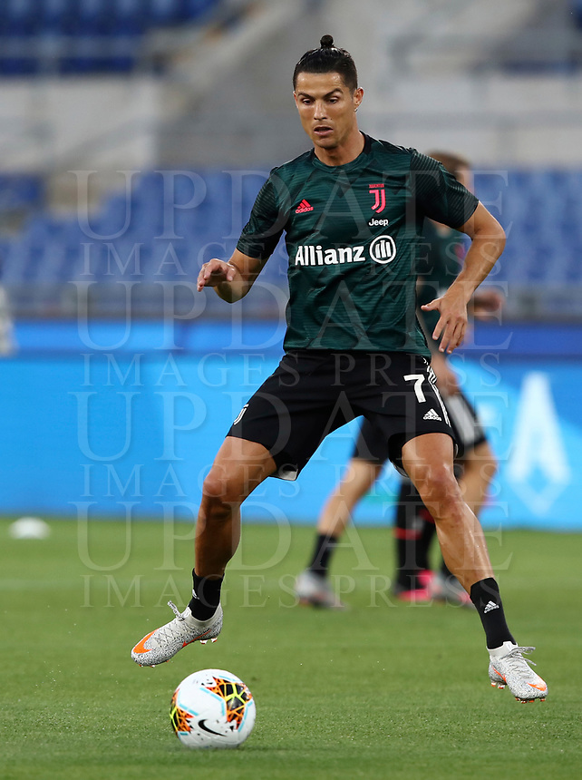 Juventus' Cristiano Ronaldo warms up before the start of the Italian Cup football final match between Napoli and Juventus at Rome's Olympic stadium, June 17, 2020. Napoli won 4-2 at the end of a penalty shootout following a scoreless draw.<br /> UPDATE IMAGES PRESS/Isabella Bonotto