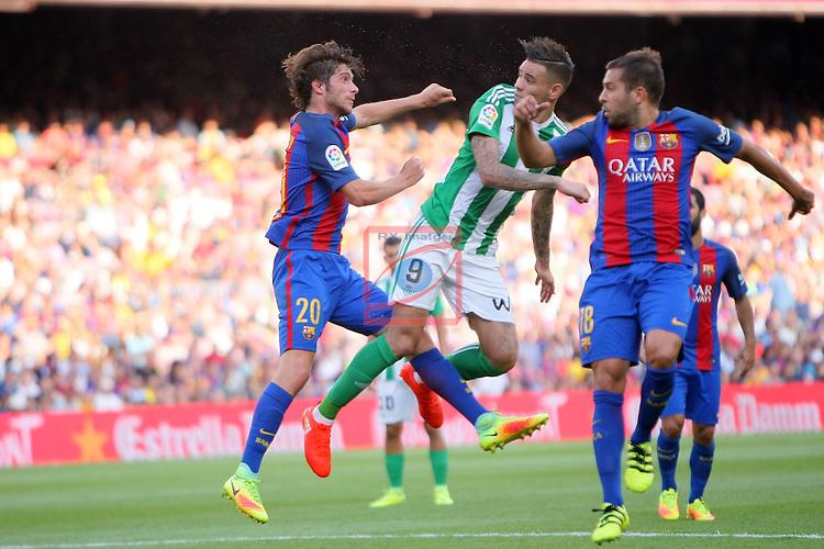League Santander 2016/2017. Game: 1.<br /> FC Barcelona vs Real Betis: 6-2.<br /> Sergi Roberto, Sanabria &amp; Jordi Alba.