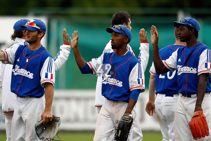 24 June 2011: Felix Brown of Team France is seen next to Fred Hanvi after France 8-5 win over UCLA Alumni, at the 2011 Prague Baseball Week, in Prague, Czech Republic.