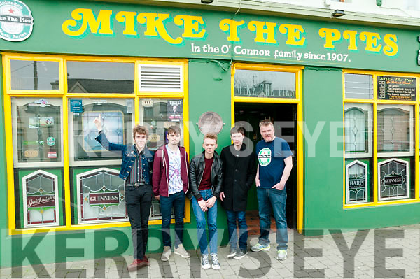 Rock band 'The Strypes' Pete O'Hanlon, Josh McClorey, Evan Walsh and Ross Farrelly pictured with Aidan O'Connor of Mike the Pies Bar, Listowel, winner of the Hot Press Live Music venue of the Year Award, on Friday before playing to a fully booked out concert in the bar.