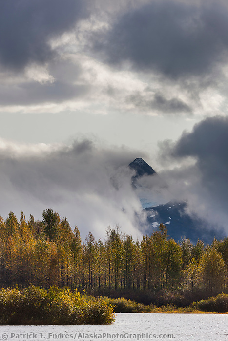 Fog and clouds over the Chugach mountains, Chugach National Forest, near Portage, Alaska.