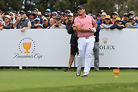 Patrick Reed (USA) on the 10th tee during the First Round - Four Ball of the Presidents Cup 2019, Royal Melbourne Golf Club, Melbourne, Victoria, Australia. 12/12/2019.<br /> Picture Thos Caffrey / Golffile.ie<br /> <br /> All photo usage must carry mandatory copyright credit (© Golffile | Thos Caffrey)