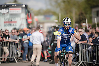 Defending champion Julian ALAPHILIPPE (FRA/Deceuninck-Quick Step) at the race start in Ans<br /> <br /> 83rd La Flèche Wallonne 2019 (1.UWT)<br /> One day race from Ans to Mur de Huy (BEL/195km)<br /> <br /> ©kramon