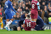 Pablo Fornals of West Ham United needs treatment during Chelsea vs West Ham United, Premier League Football at Stamford Bridge on 30th November 2019