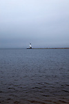 Harbor and lighthouse on an overcast day, Lake Michigan, Ludington, Michigan, MI, USA