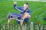 John Paul Fitzgerald from Glin with his dog Go Home Hare who won the The Boylesports Derby at the National Coursing Meeting in Clonmel on Wednesday.
