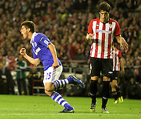 5.04.2012 Bilbao, Spain. Uefa Europa League. Picture show Huntelaar  after scoring during match between Athletic Club against Shalke 04 at San Mames stadium