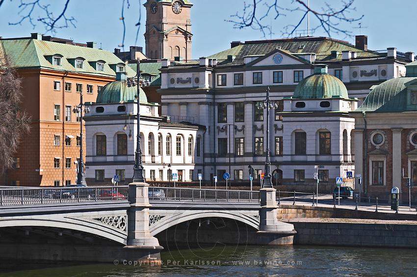 Bondeska Palatset in Gamla Stan Old Town, seat of Högsta Domstolen, The Supreme Court. Stockholms Ström water. Stockholm. Sweden, Europe.