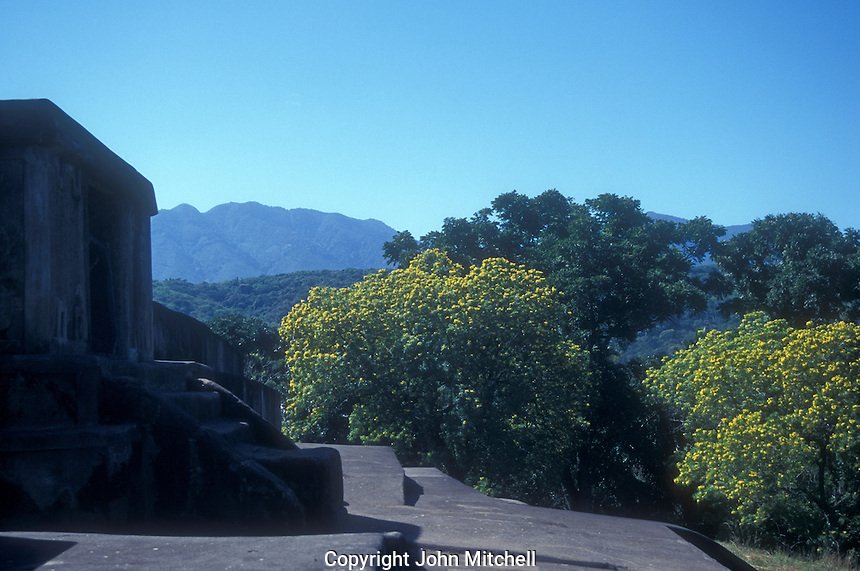 View from the top of the main pyramid at the Mayan ruins of El Tazumal in El Salvador Central America