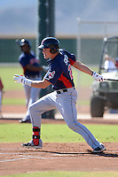 Cleveland Indians outfielder Jordan Smith (22) during an instructional league game against the Cincinnati Reds on September 28, 2013 at Goodyear Training Complex in Goodyear, Arizona.  (Mike Janes/Four Seam Images)