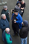 'Groundhoppers' enjoying refreshments before the Spartans versus University of Stirling Scottish Lowland League match at Ainslie Park, Edinburgh. The match was one of six attended by members of GroundhopUK over the weekend to accommodate groundhoppers, fans who attempt to visit as many football venues as possible. Around 100 fans in two coaches from England participated in the 2016 Lowland League Groundhop and they were joined by other individuals from across the UK which helped boost crowds at the six featured matches.