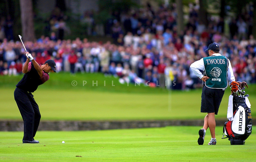 Tiger Woods (USA) in action during the American Express World Golf Championship played at Mount Juliet Golf Resort, Kilkenny, Ireland on 22nd September 2002. Picture Credit / Phil Inglis