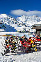 Switzerland, Valais, Saas Fee, Ski hut at Felskinn with Taeschhorn Mountain (4.491 m)