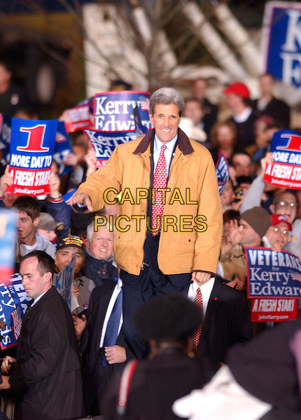 JOHN KERRY .Presidential Candidate during an election eve rally held near Cleveland City Hall, Cleveland, Ohio, USA, 1st November 2004..half length senator crowd.**UK SALES ONLY**.Ref: ADM.www.capitalpictures.com.sales@capitalpictures.com.©Capital Pictures.