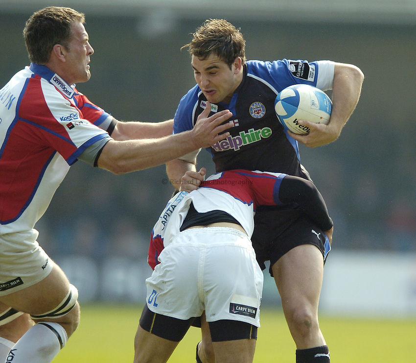 Photo: Jonathan Butler..Bath Rugby v Bristol Rugby. European Challenge Cup. 31/03/2007..Olly Barkley (R) of Bath is tackled by Gareth Llewellyn and David Lemi of Bristol.