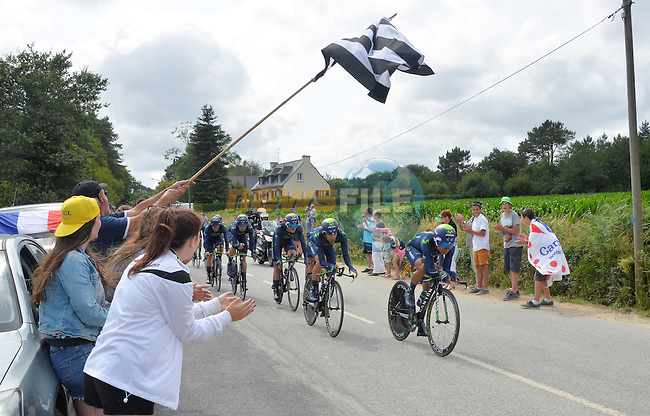 Movistar Team in action during Stage 9 of the 2015 Tour de France a team time trial running 28km from Vannes to Plumelec, France. 11th July 2015.<br /> Photo: ASO/B.Bade/Newsfile
