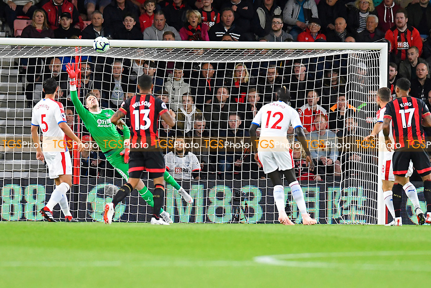 Wayne Hennessey of Crystal Palace can't reach the shot from David Brooks of AFC Bournemouth for the first goal during AFC Bournemouth vs Crystal Palace, Premier League Football at the Vitality Stadium on 1st October 2018