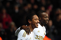 Saturday 19 January 2013<br /> Pictured L-R: Jonathan de Guzman of Swansea celebrating his second goal with team mate Roland Lamah.<br /> Re: Barclay's Premier League, Swansea City FC v Stoke City at the Liberty Stadium, south Wales.