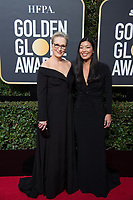 Actor Meryl Streep and Ai-jen Poo, the head of the National Domestic Workers Alliance attend the 75th Annual Golden Globes Awards at the Beverly Hilton in Beverly Hills, CA on Sunday, January 7, 2018.<br /> *Editorial Use Only*<br /> CAP/PLF/HFPA<br /> &copy;HFPA/Capital Pictures