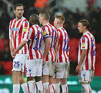 Stoke City's Peter Crouch turns to check with his goalkeeper Jack Butland if the defensive wall is correct prior to a free kick<br /> <br /> Photographer Stephen White/CameraSport<br /> <br /> The EFL Sky Bet Championship - Stoke City v Preston North End - Saturday 26th January 2019 - bet365 Stadium - Stoke-on-Trent<br /> <br /> World Copyright © 2019 CameraSport. All rights reserved. 43 Linden Ave. Countesthorpe. Leicester. England. LE8 5PG - Tel: +44 (0) 116 277 4147 - admin@camerasport.com - www.camerasport.com