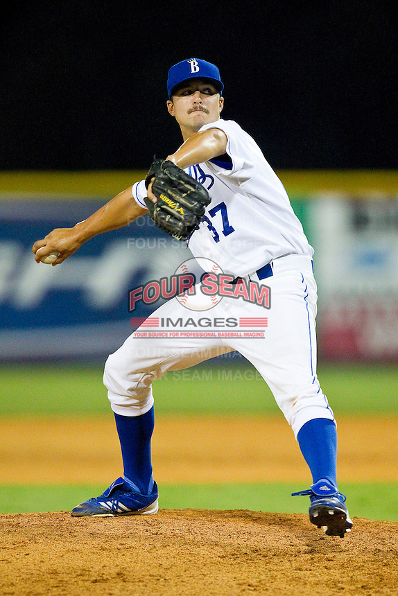 Burlington Royals relief pitcher Andrew Stueve (37) in action against the Danville Braves at Burlington Athletic Park on July 18, 2012 in Burlington, North Carolina.  The Royals defeated the Braves 4-3 in 11 innings.  (Brian Westerholt/Four Seam Images)
