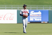Peoria Javelinas center fielder Cristian Pache (27), of the Atlanta Braves organization, during an Arizona Fall League game against the Surprise Saguaros at Surprise Stadium on October 17, 2018 in Surprise, Arizona. (Zachary Lucy/Four Seam Images)