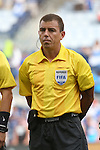 13 July 2015: Referee Joel Aguilar (SLV). The Haiti Men's National Team played the Honduras Men's National Team at Sporting Park in Kansas City, Kansas in a 2015 CONCACAF Gold Cup Group A match. Haiti won the game 1-0.