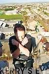 Louise Overy from Brandon,eyes squeezed shut falls backwords out of the 175ft high cage in a bungee jump dare,in which she raised over 200euro for a charity of her choice,at the start of the Tralee IT rag week,last Monday morning at the South campus,Clash..